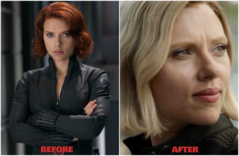 Black widow in blond outfit