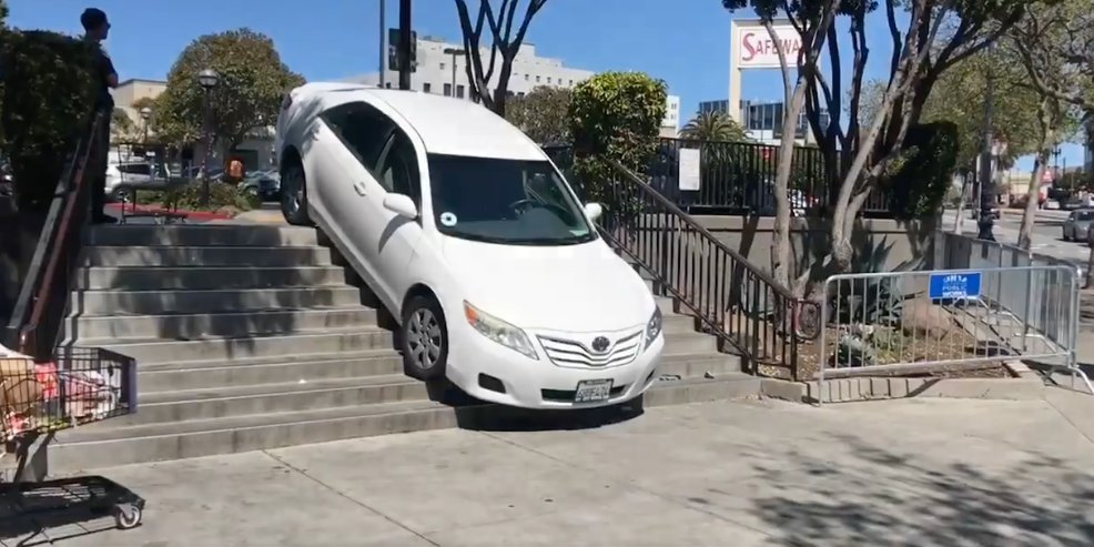 Uber Driver Staircase Fail and 3 More Stupid Car Accidents Caused by on