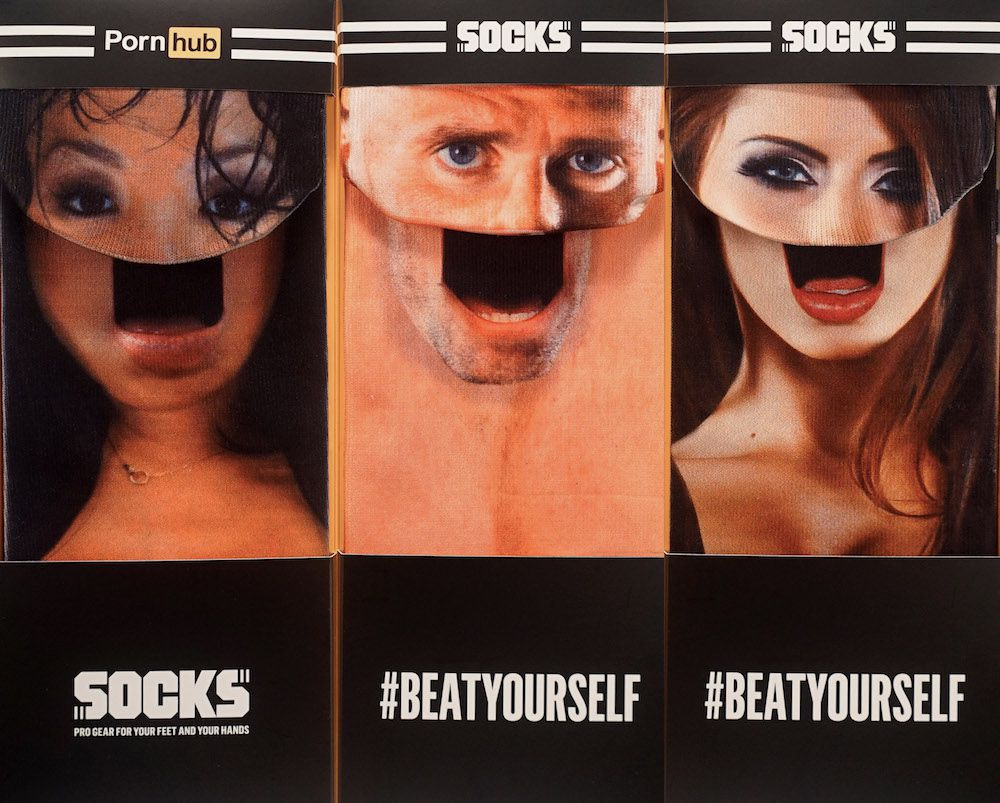 Pornhub launches its new merch - socks with faces of famous adult stars.