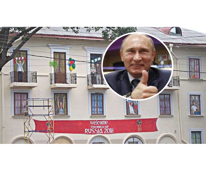 "This Is How Russia Prepares for FIFA World Cup 2018: ""Happy Citizens"" Were Drawn on Windows of Rostov-on-Don Houses"