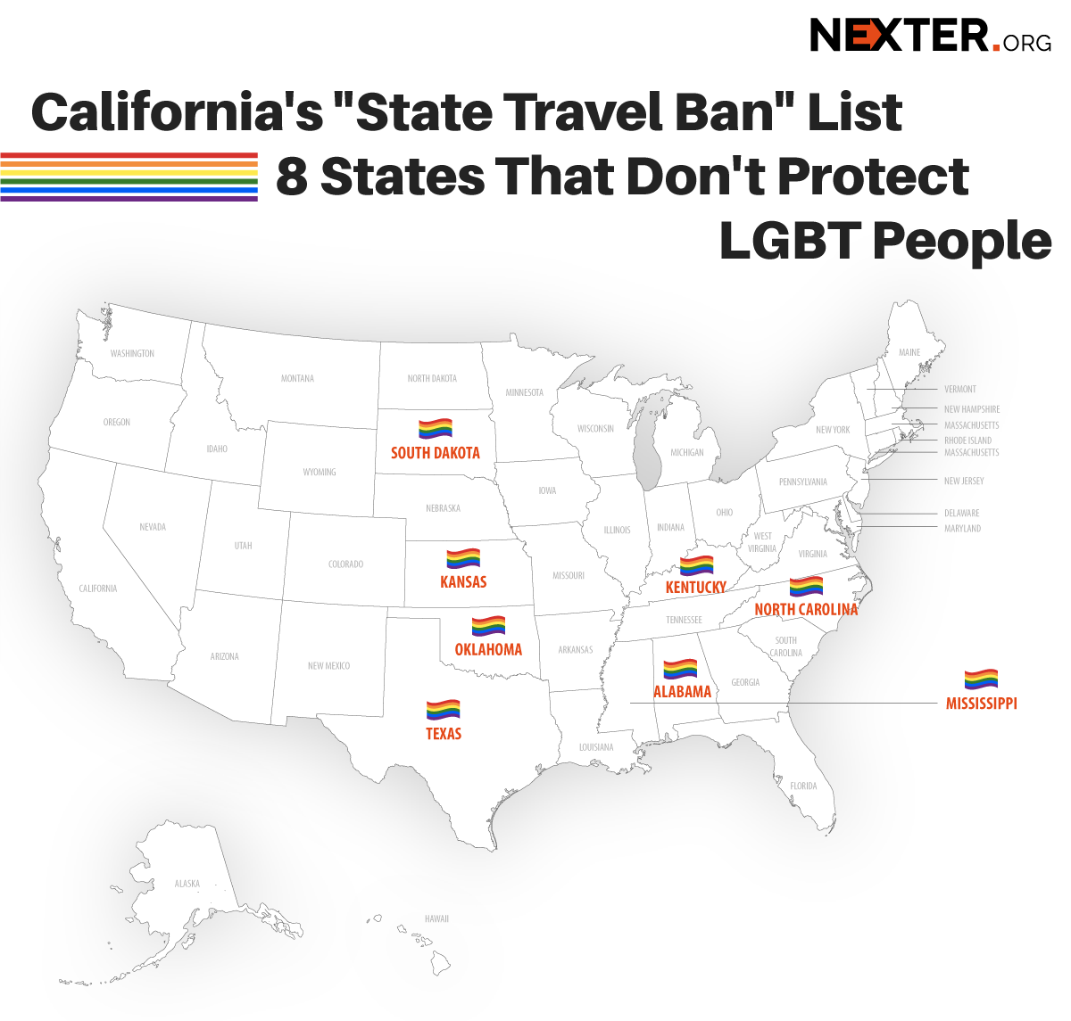 "California's ""State Travel Ban"" List: Oklahoma Was Added to 7 States That Don't Protect LGBT People (Infographics)"