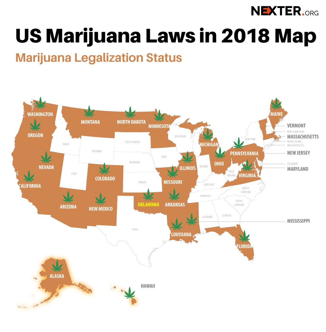 Oklahoma Approves Medical Marijuana - See Map With All 30 USA States Where Cannabis Usage Is Allowed