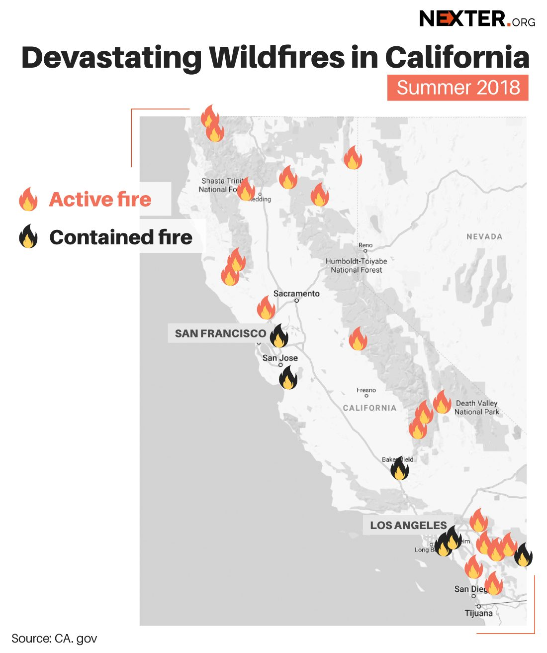 Fire Map California July 2018.Trump Declares Emergency State In California 6 People Died And 12