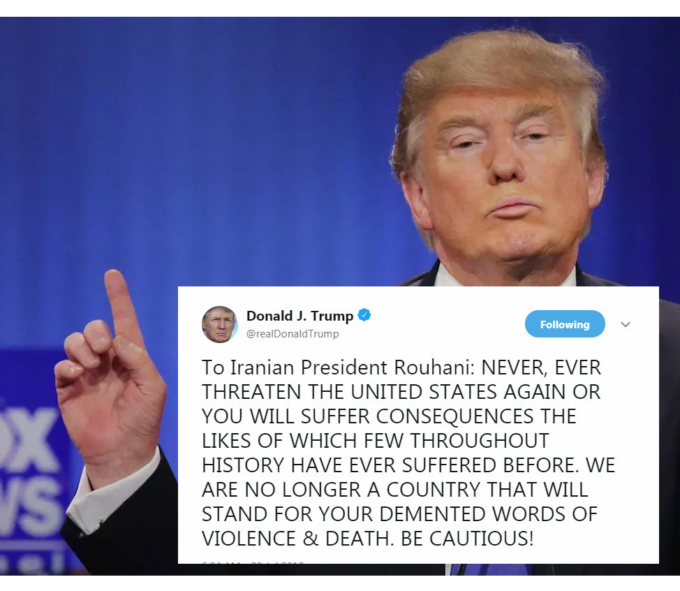 "Trump News: POTUS Threatening Iranian President Gives Birth to Awesome ""BE CAUTIOUS"" Meme"