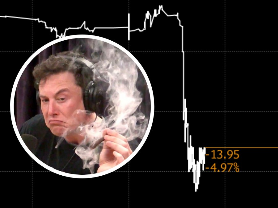 What's Up, Elon: Tesla Sank More Than 10% After Musk's Weed Smoking and Chief Accountant Resignation