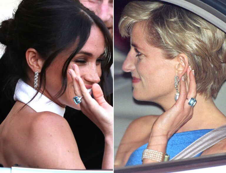 6 beautiful ways meghan markle and kate middleton wore jewelry they have inherited from princess diana kate middleton wore jewelry