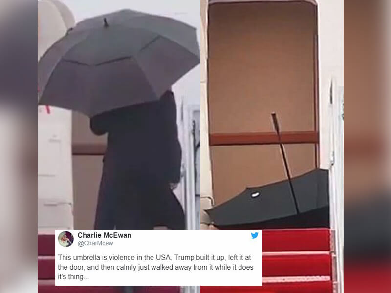Trump News: POTUS Weird Umbrella Moment Goes Viral and Inspires Cringeworthy Memes