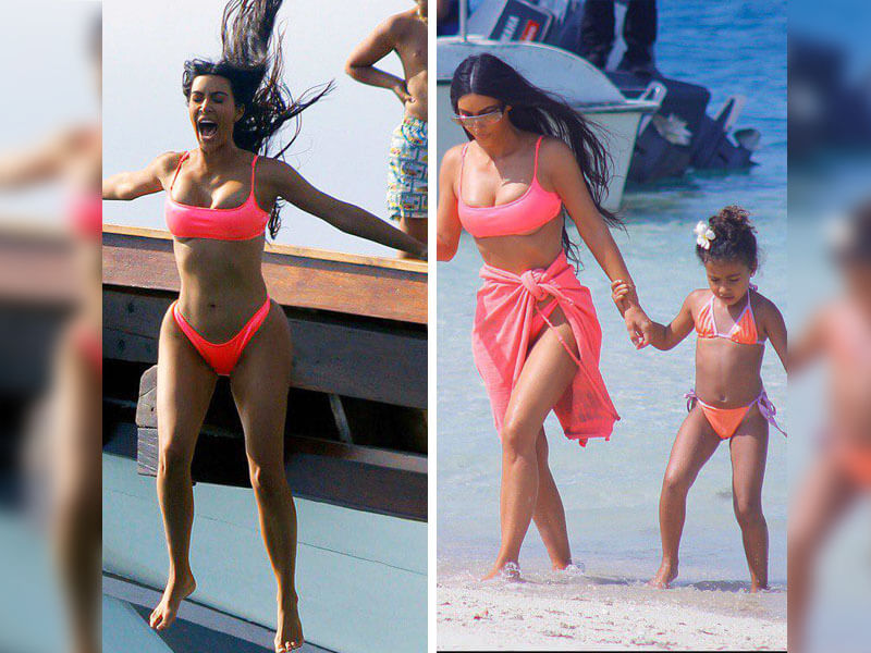Kim Kardashian's Funny Yet Sexy Pics - See Her Jumping Off Yacht and Wearing Pink Bikini in Bali