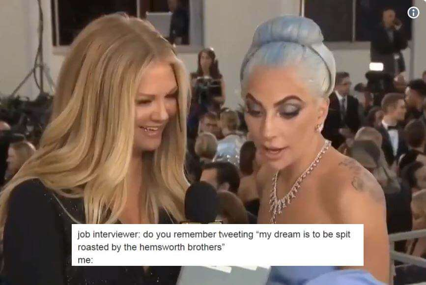 "Lady Gaga's Golden Globes Red Carpet Interview Is Now ""We Didn't Say That"" Meme To Deny Everything from Your Past"
