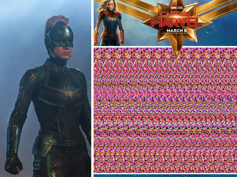 'Captain Marvel' Optical Illusion Posters - All 5 Hidden Messages Revealed!