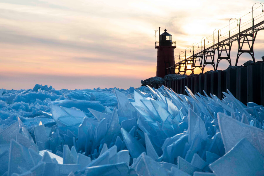 Lake Michigan Froze Into Stunning Ice Shards - See Amazing Pics
