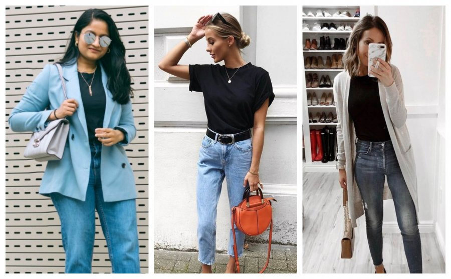11 Not Boring Ways to Wear Black T-Shirt and Jeans to Get Completely Stylish and Different Looks