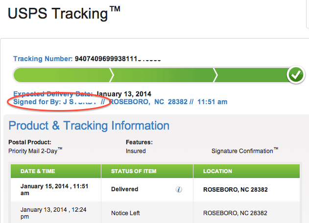 parcel tracking notice